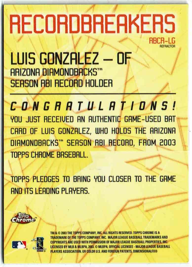 2003 Topps Record Breakers Relics Refractor Luiis Gonzalez #RBCR-LG card back image