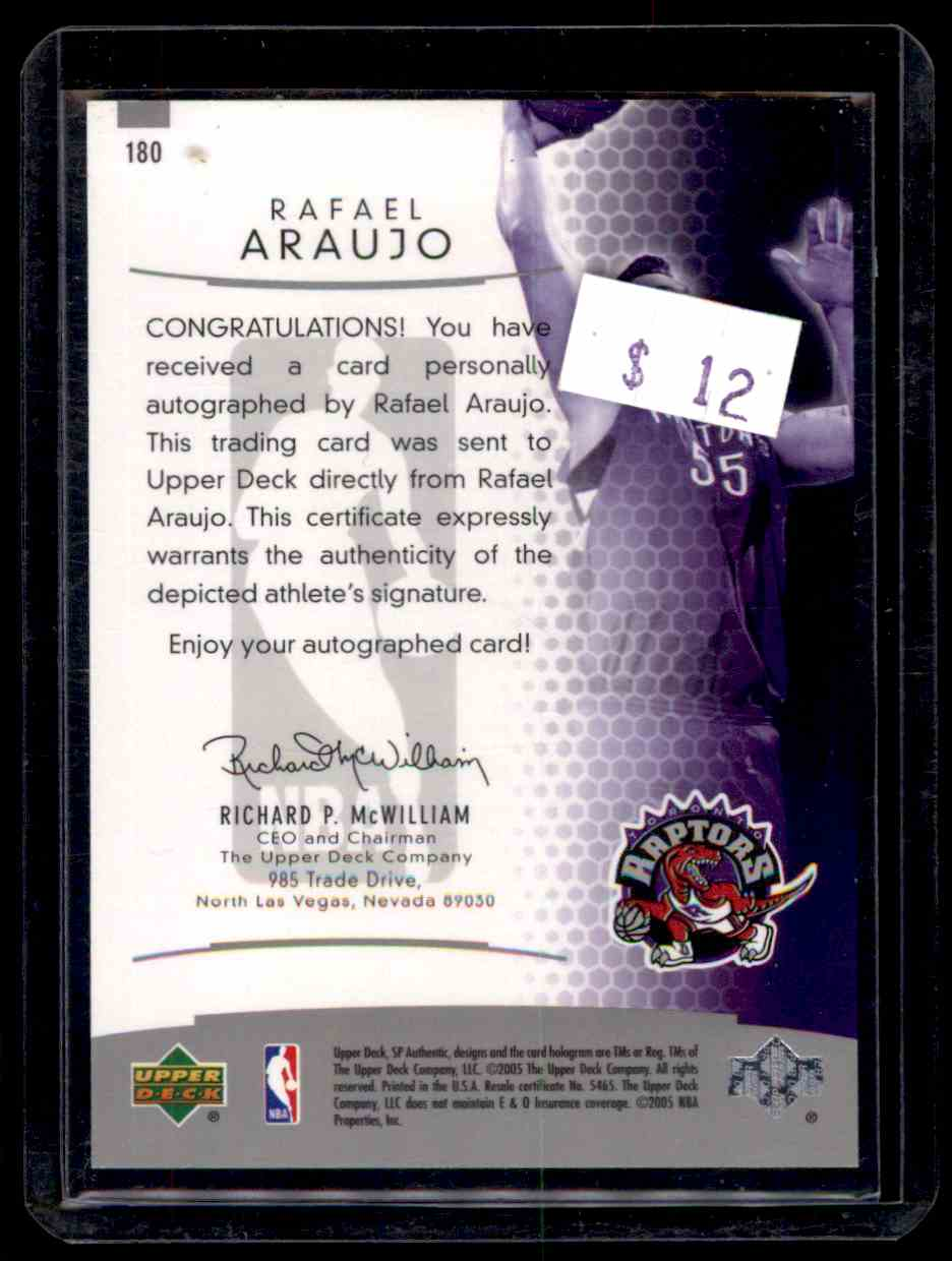 2004-05 SP Authentic Rafael Araujo #180 card back image