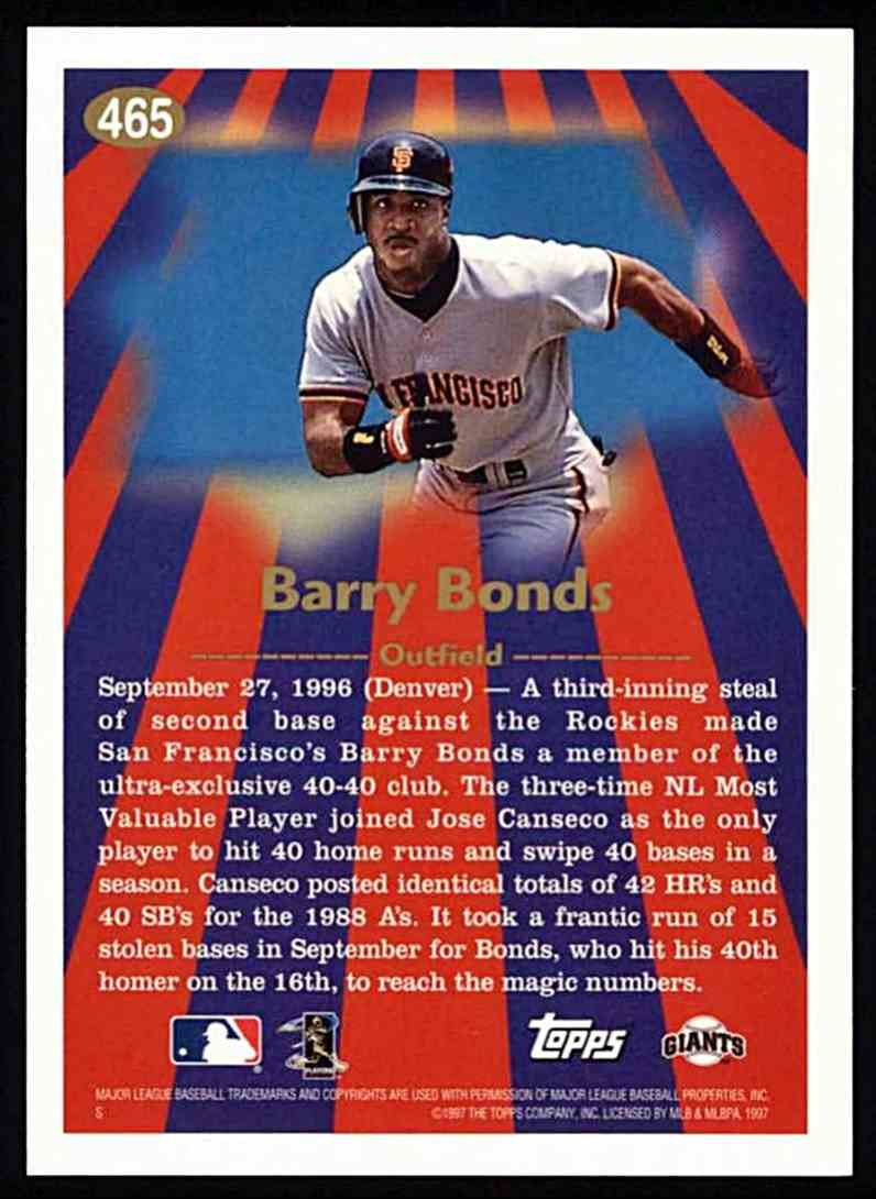1997 Topps Barry Bonds - 96' Season Highlights #465 card back image