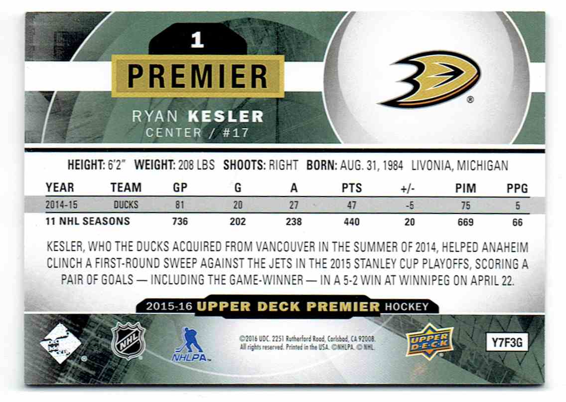 2015-16 Upper Deck Premier Ryan Kesler #1 card back image