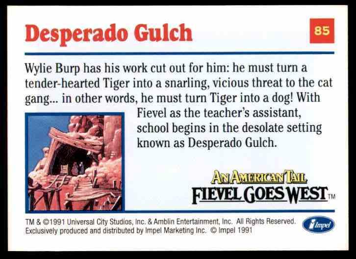 1991 An American Tail Desperado Gulch #85 card back image