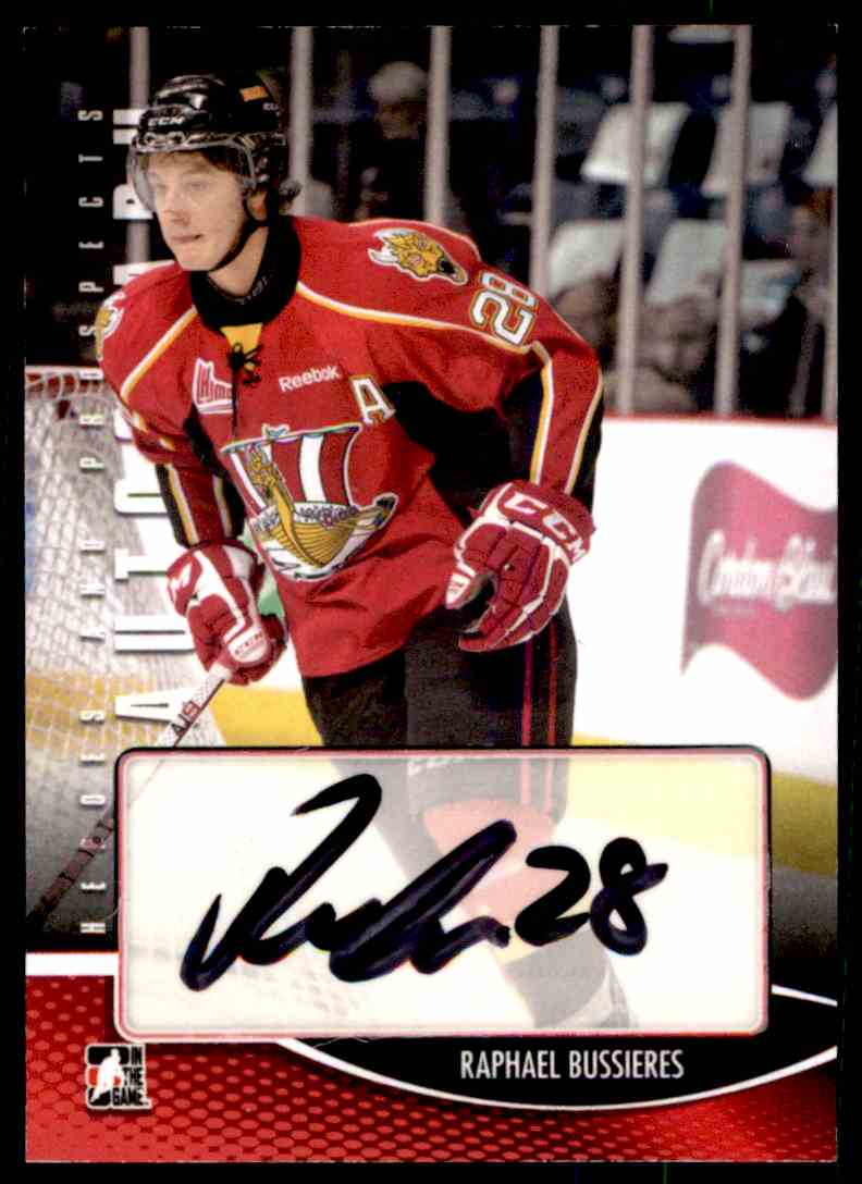 2012-13 In The Game Heroes And Prospect Autograph Raphael Bussieres #A-RB card front image