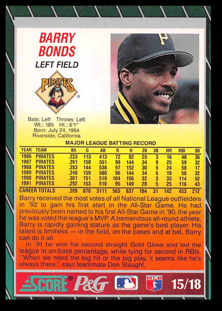 1992 Score Barry Bonds 15 On Kronozio