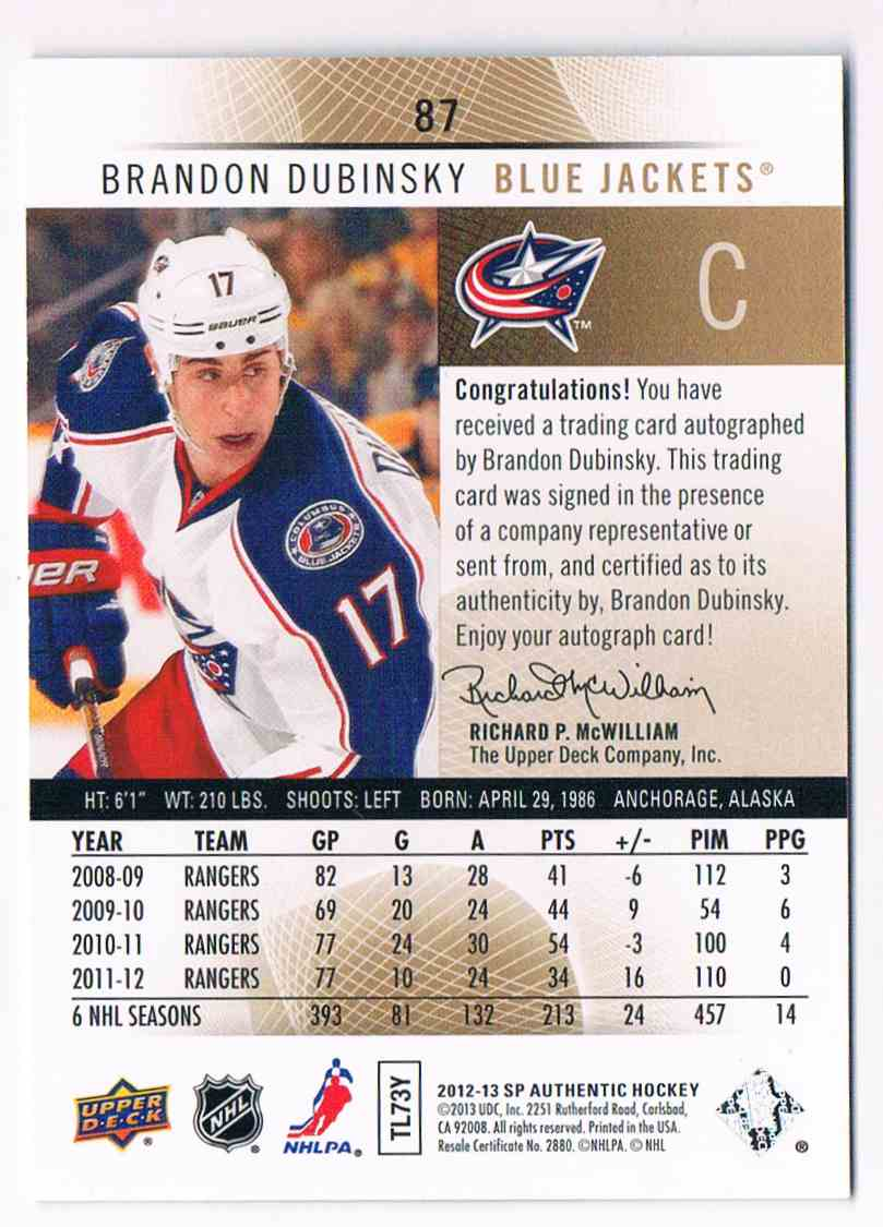 2012-13 Upper Deck SP Authentic Brandon Dubinsky #87 card back image