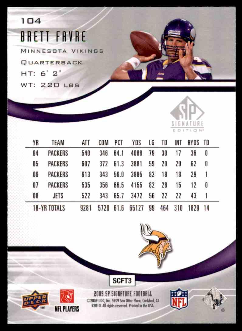 2009 SP Signature Brett Favre Vikings #104 card back image