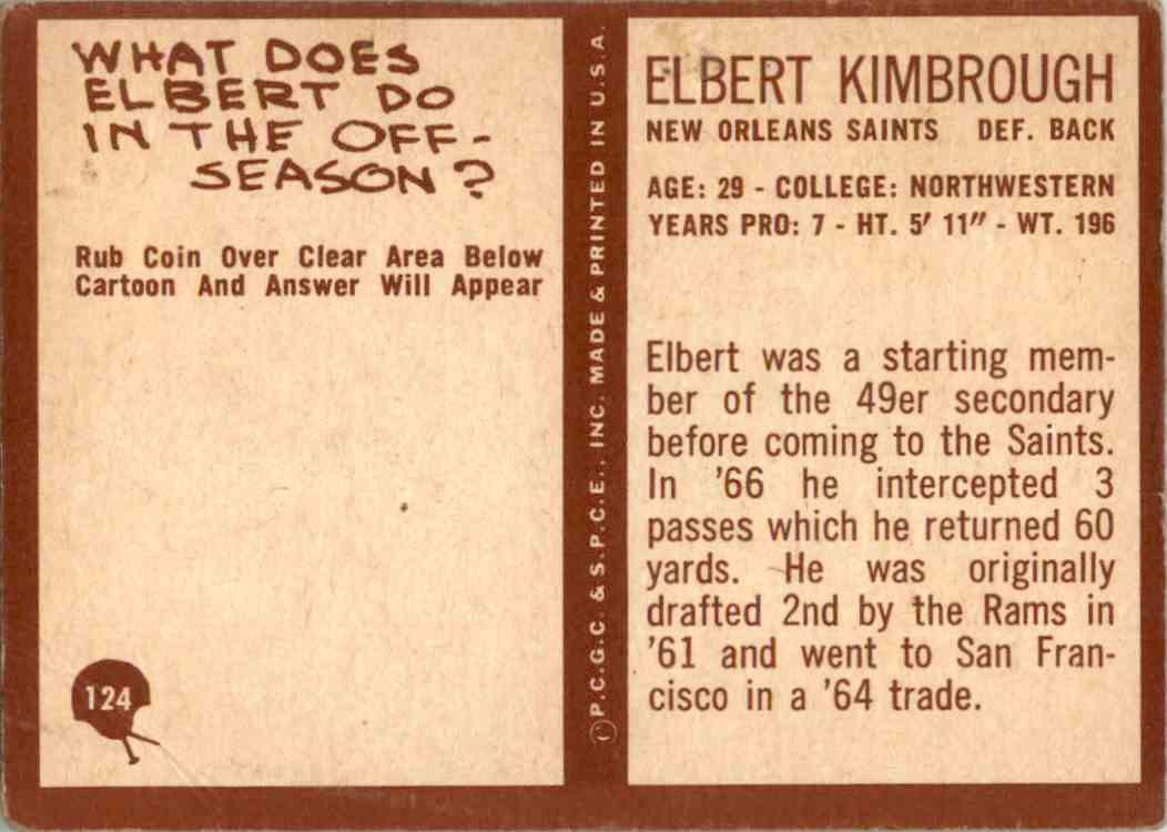 1967 Philadelphia Elbert Kimbrough #124 card back image
