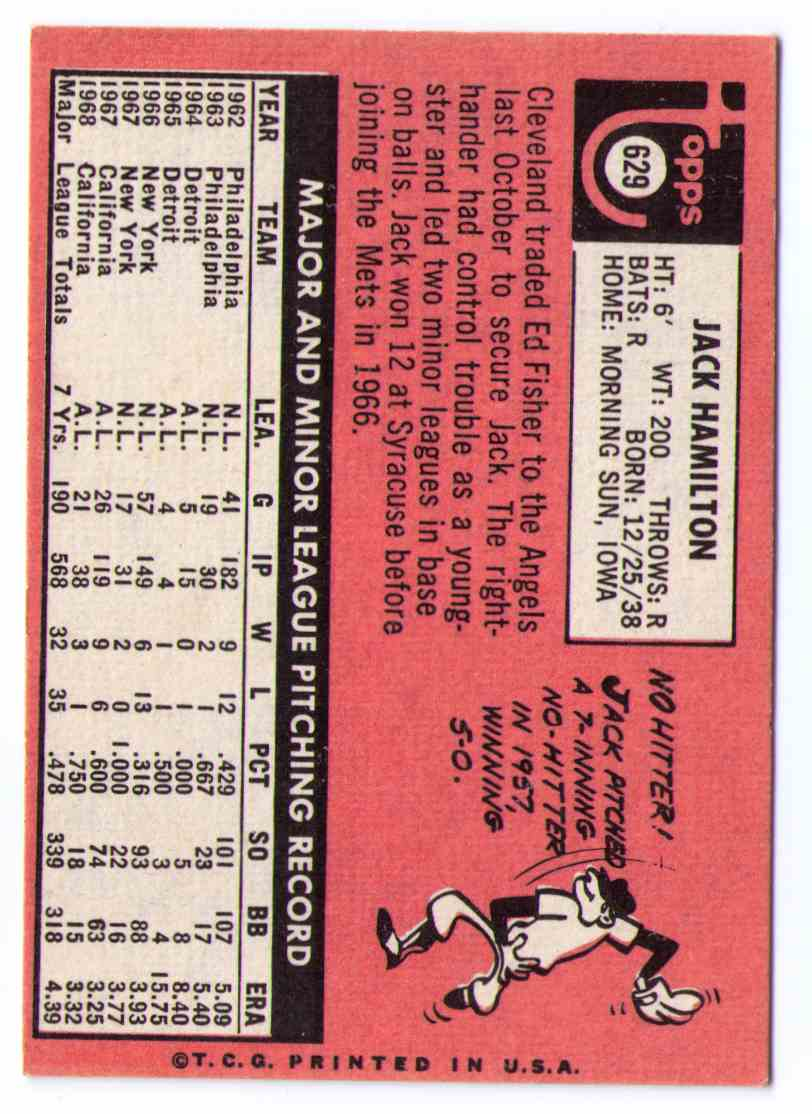 1969 Topps 50th Anniversary 2018 Topps Heritage Buyback Jack Hamilton #629 card back image