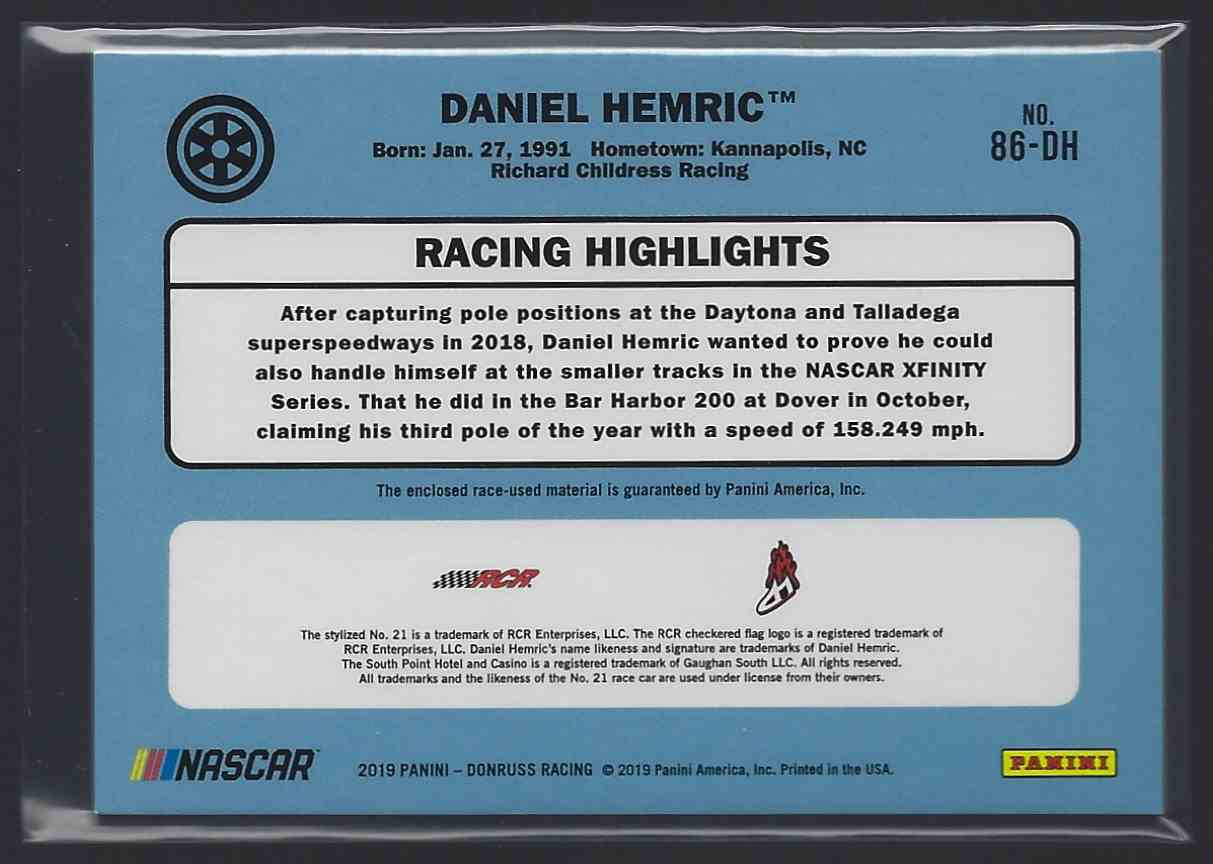2019 Donruss Retro Relics '86 Red Daniel Hemric #86-DH card back image