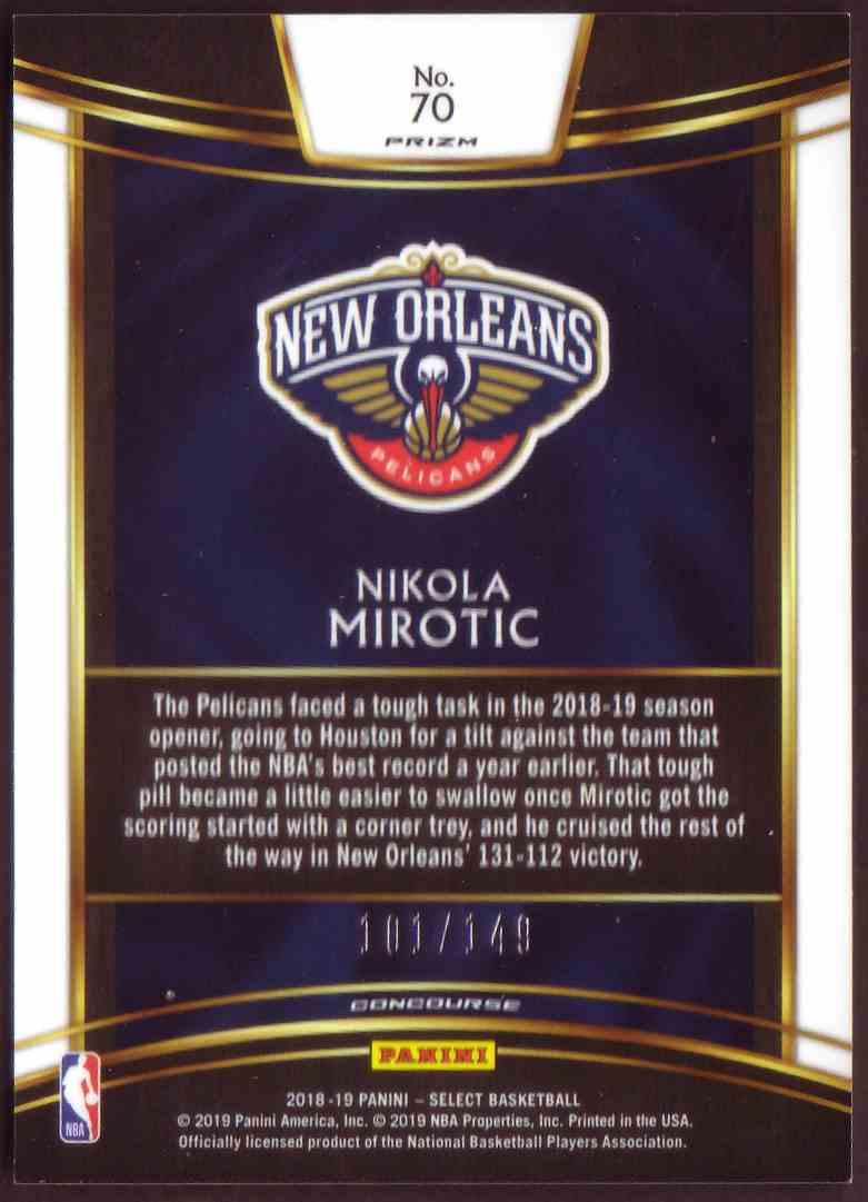 2018-19 Panini Select Base Concourse Prizm White Nikola Mirotic #70 card back image