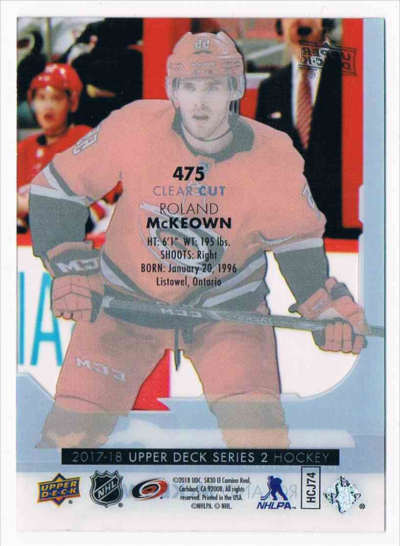 2017-18 Upper Deck Young Guns Clear Cut Roland McKeown #475 card back image