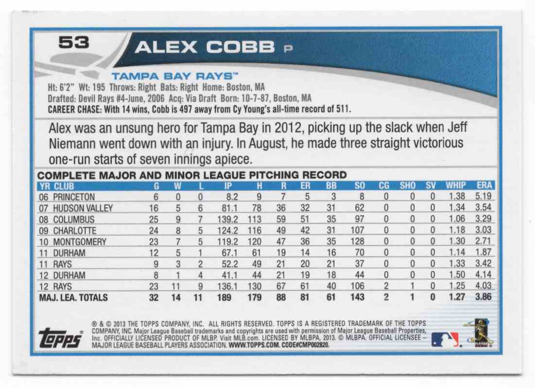 2013 Topps Alex Cobb #53 card back image