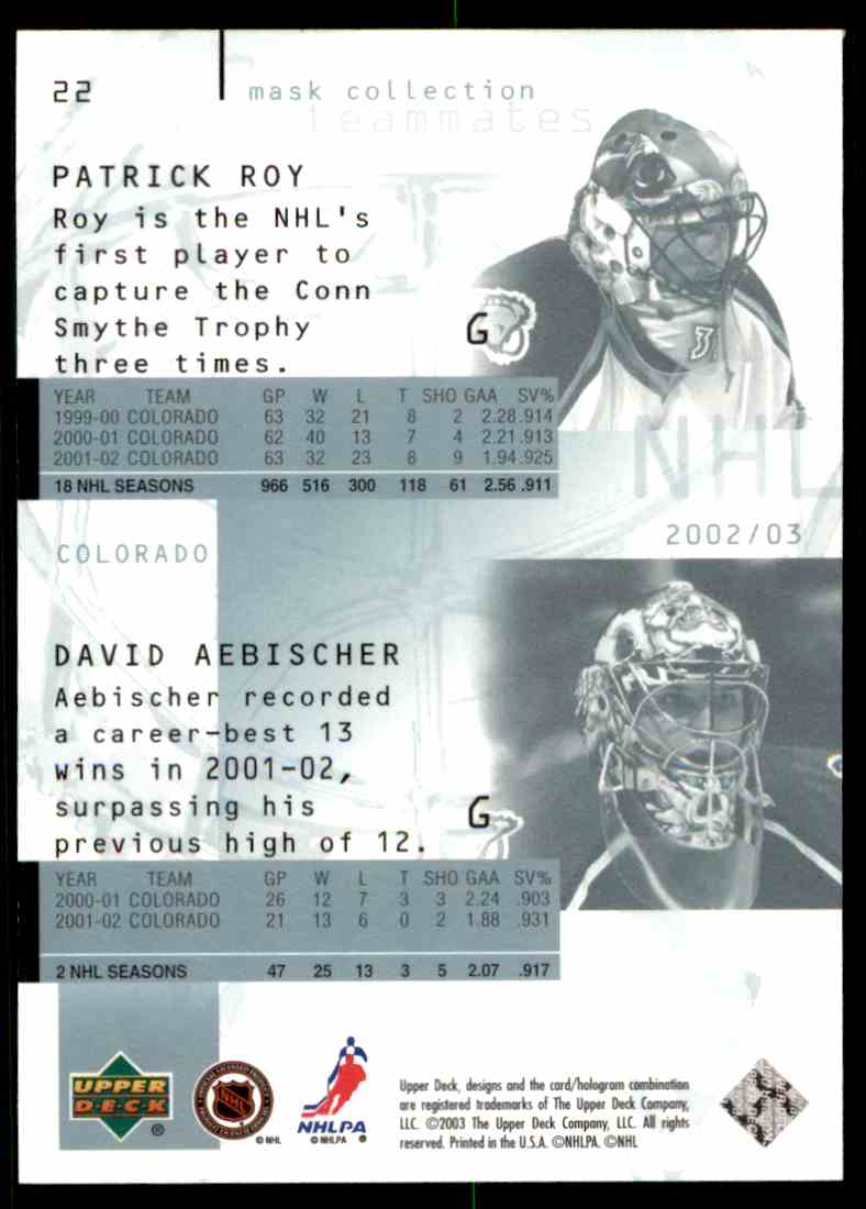 2002-03 Upper Deck Mask Collection Patrick Roy David Aebischer #22 card back image