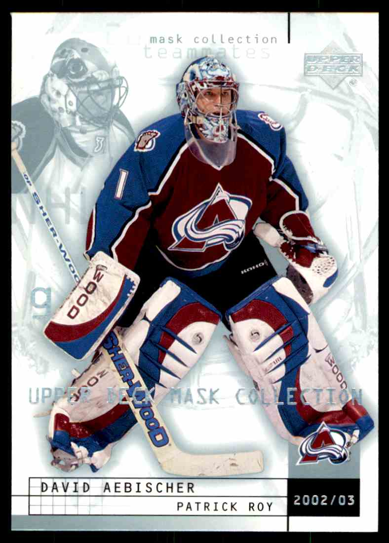 2002-03 Upper Deck Mask Collection Patrick Roy David Aebischer #22 card front image