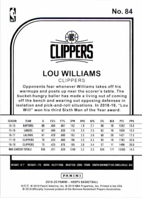 2019-20 Hoops Lou Williams #84 card back image