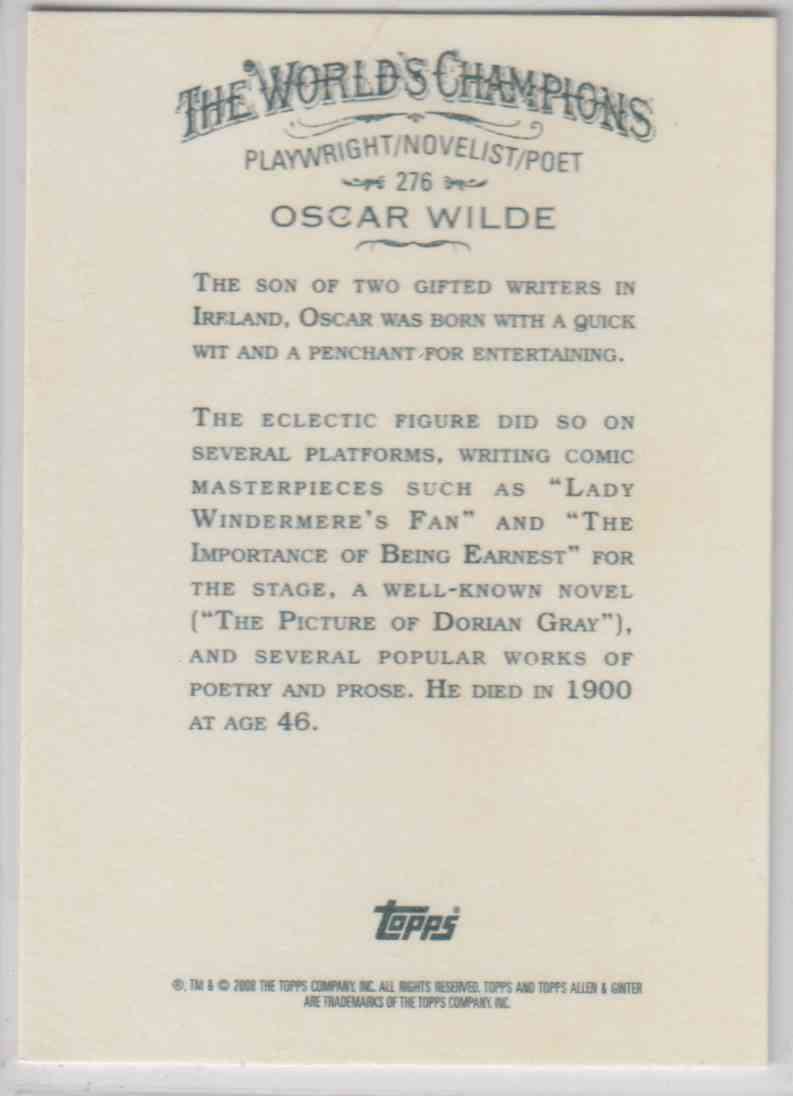 2008 Topps Allen And Ginter Oscar Wilde #276 card back image