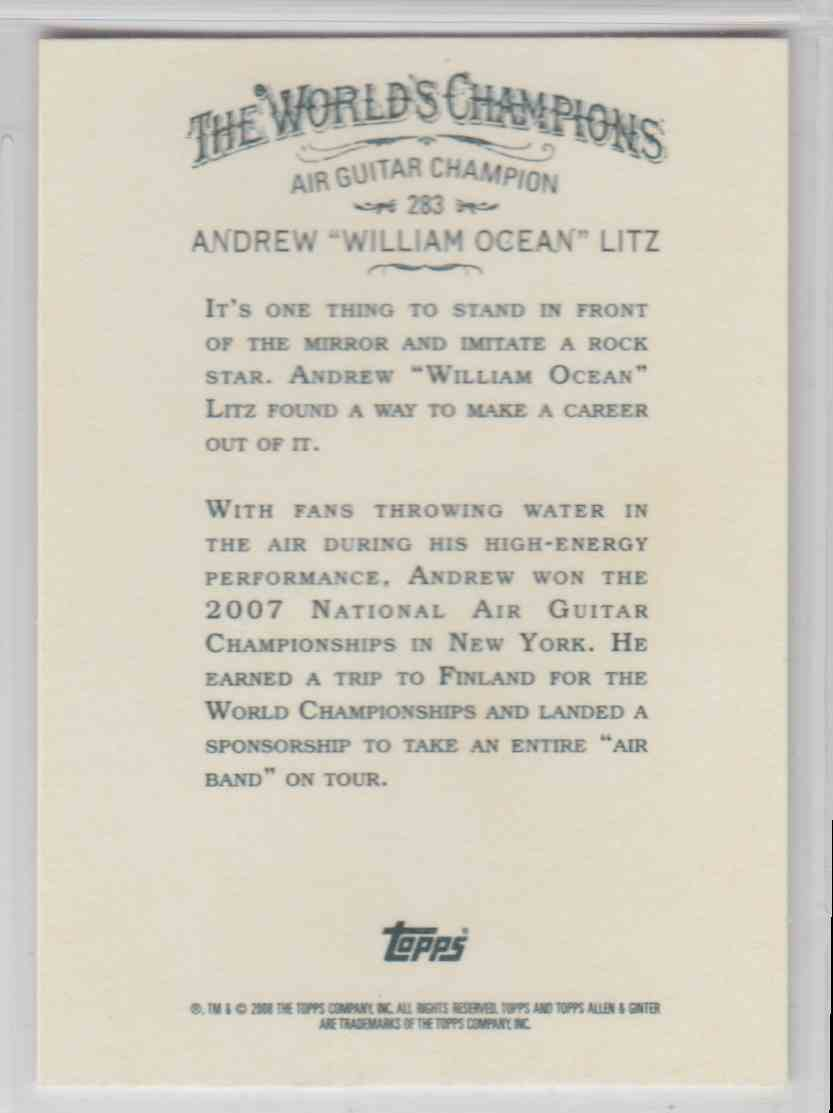 2008 Topps Allen And Ginter Andrew William Ocean Litz #283 card back image
