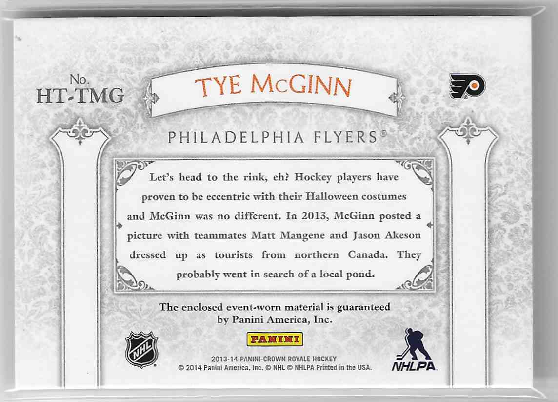2013-14 Panini Crown Royale Heirs To The Throne Materials Tye McGinn #HT-TMG card back image
