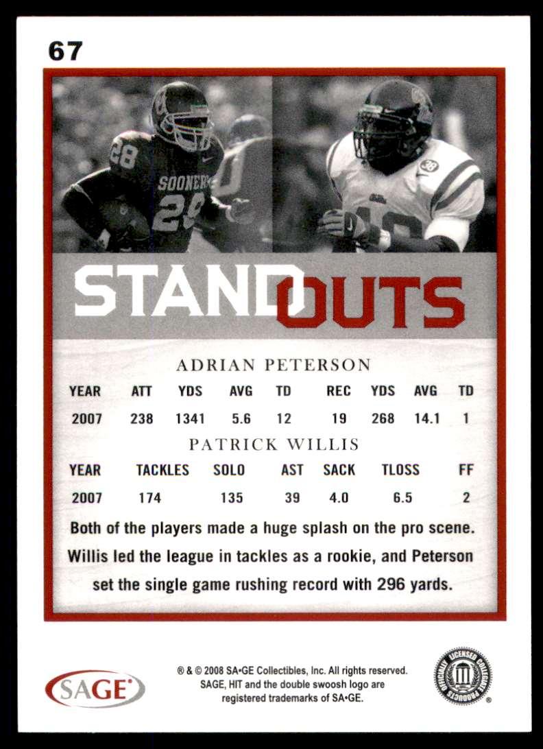 2008 Sage Hit Adrian Peterson/Patrick Willis #67 card back image