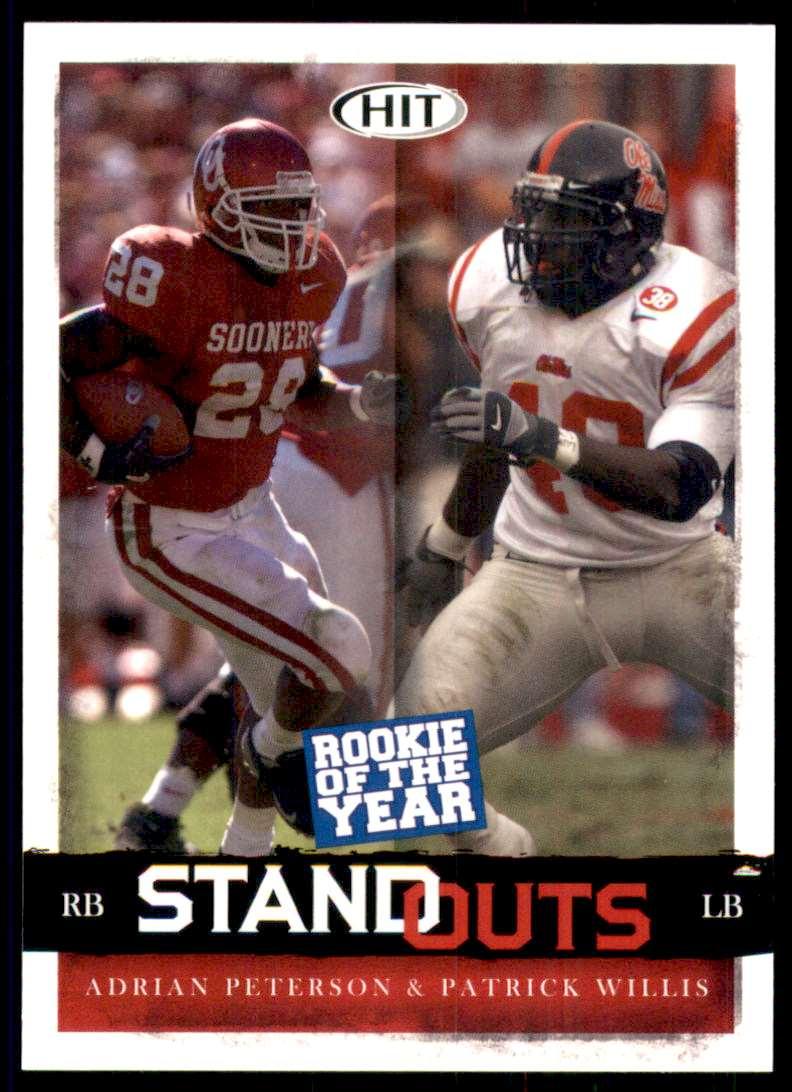 2008 Sage Hit Adrian Peterson/Patrick Willis #67 card front image