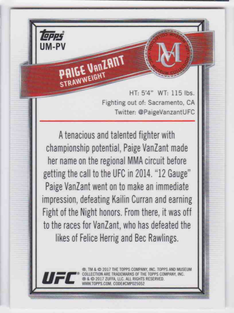 2017 Topps UFC Museum Collection Paige Vanzant #UM-PV card back image