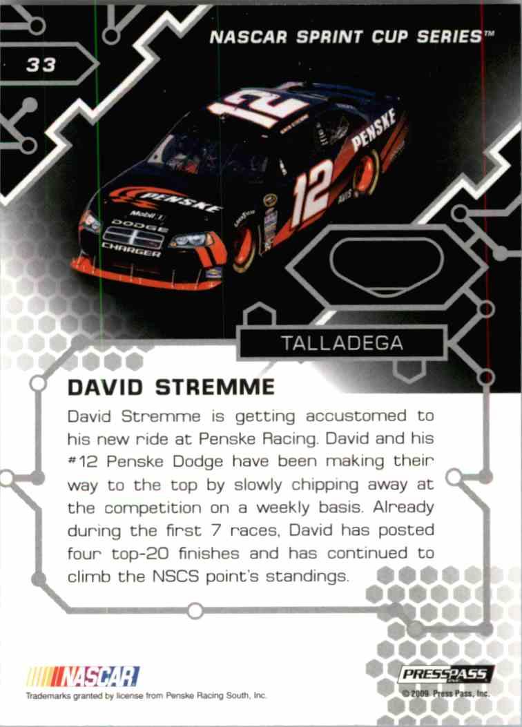 2009 Press Pass Stealth David Stremmel #33 card back image