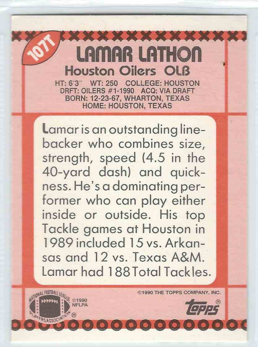 1990 Topps Traded Lamar Lathon #107T card back image