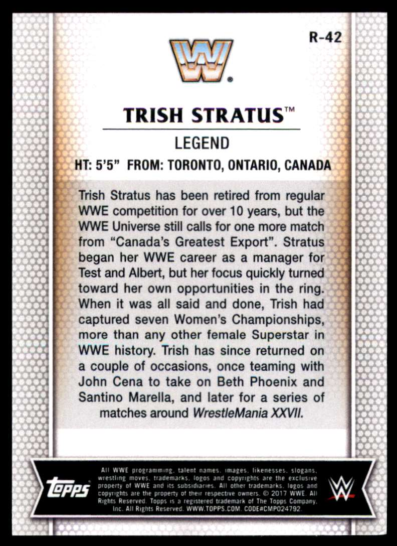 2017-18 Topps Wwe Women's Division Trish Stratus #R42 card back image
