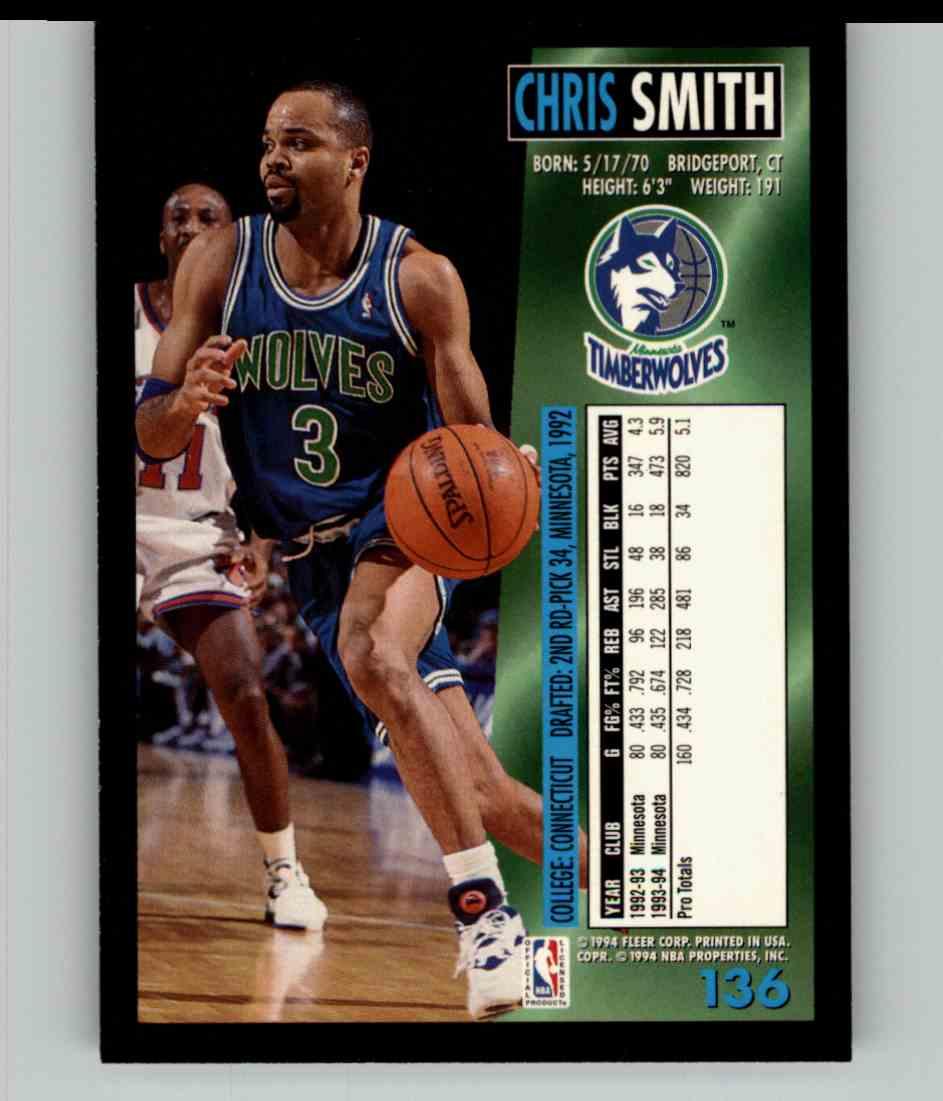 1994-95 Fleer Chris Smith #136 card back image