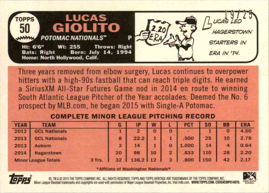 2015 Topps Heritage Minors Orange Lucas Giolito #50 card back image