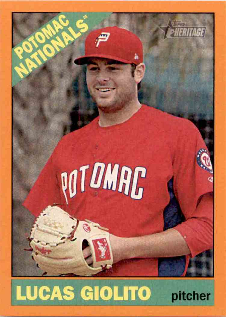 2015 Topps Heritage Minors Orange Lucas Giolito #50 card front image