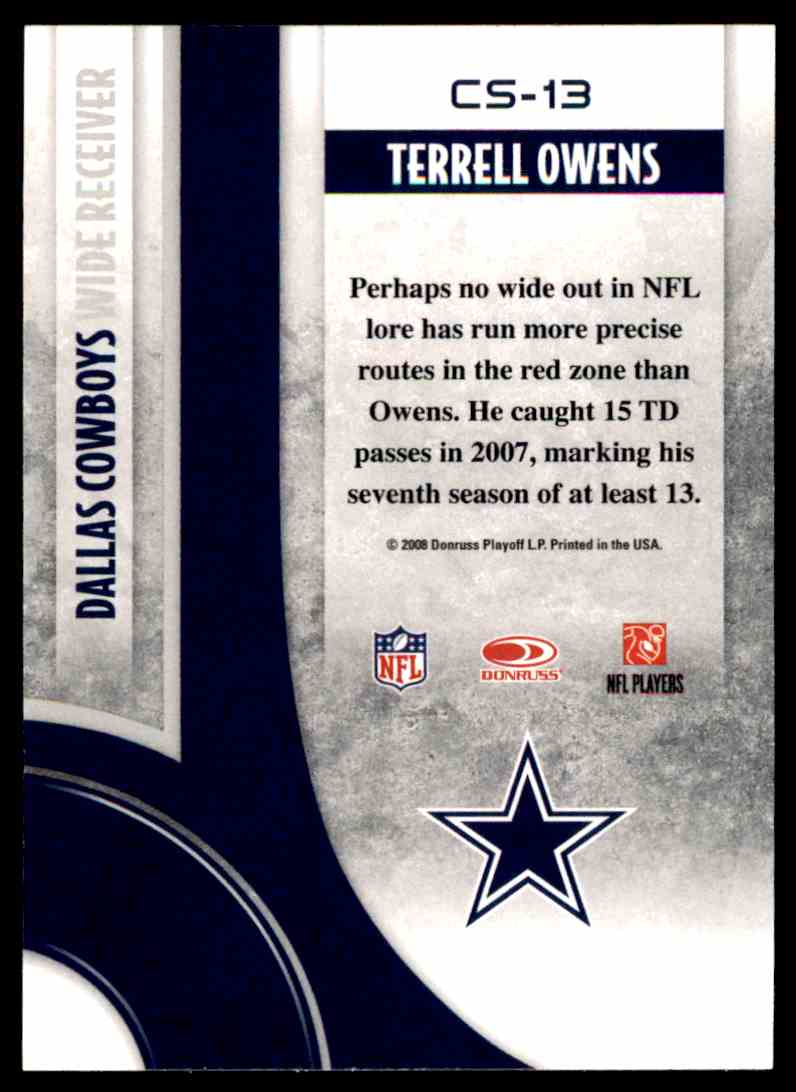 2008 Donruss Threads Century Stars Terrell Owens #CS-13 card back image