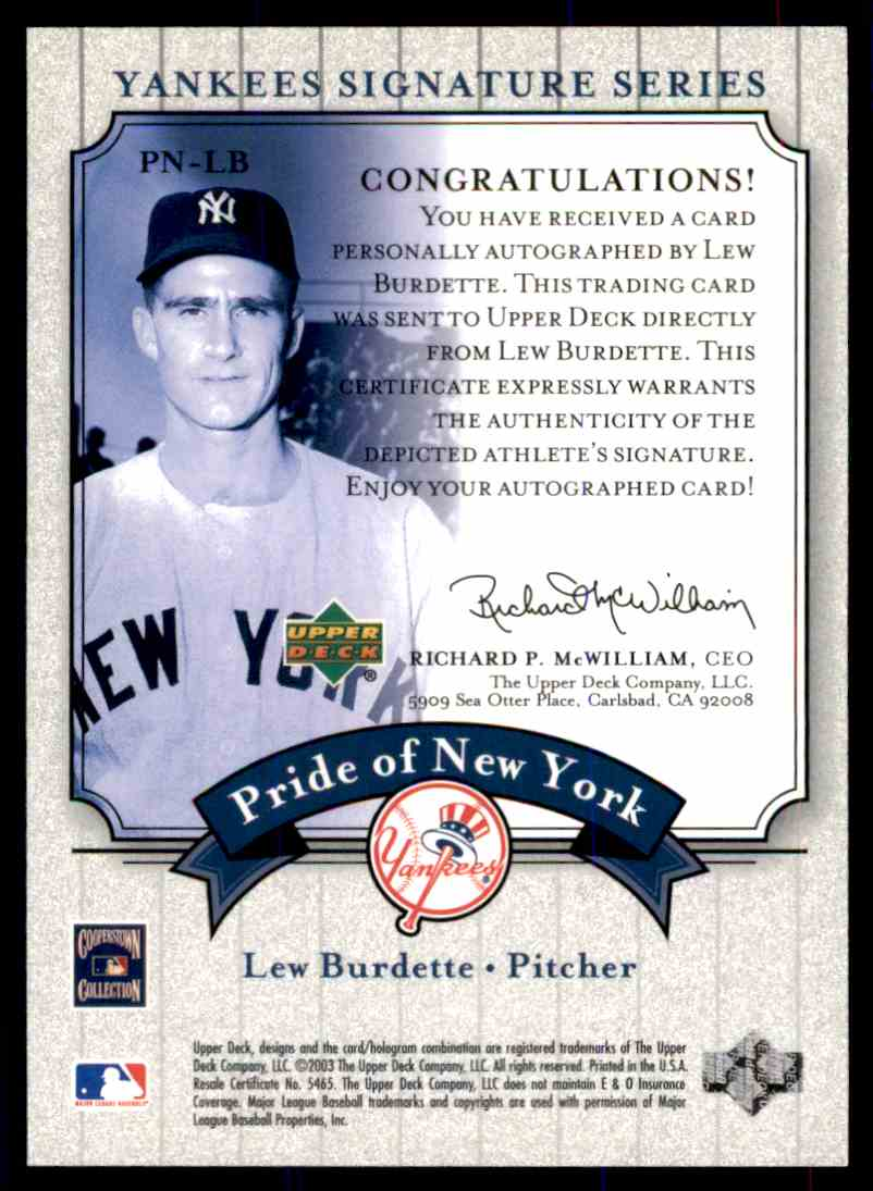 2003 Upper Deck Yankees Siganture Series Lew Burdette card back image
