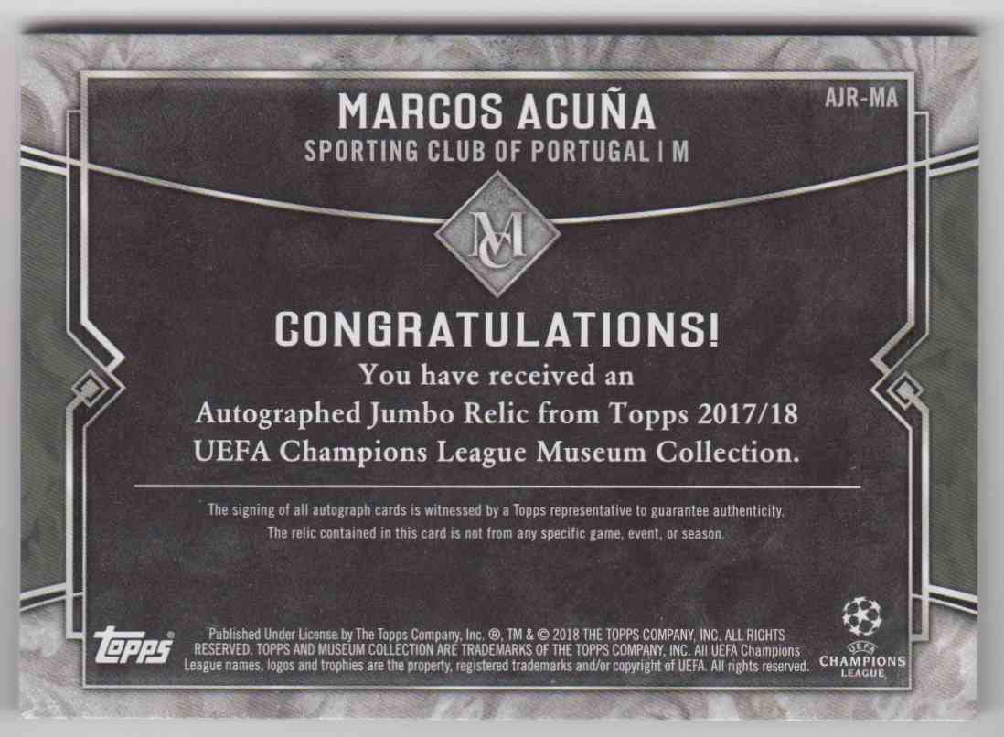 2017 Topps Champions League Museum Collection Marcos Acuna #AJR-MA card back image