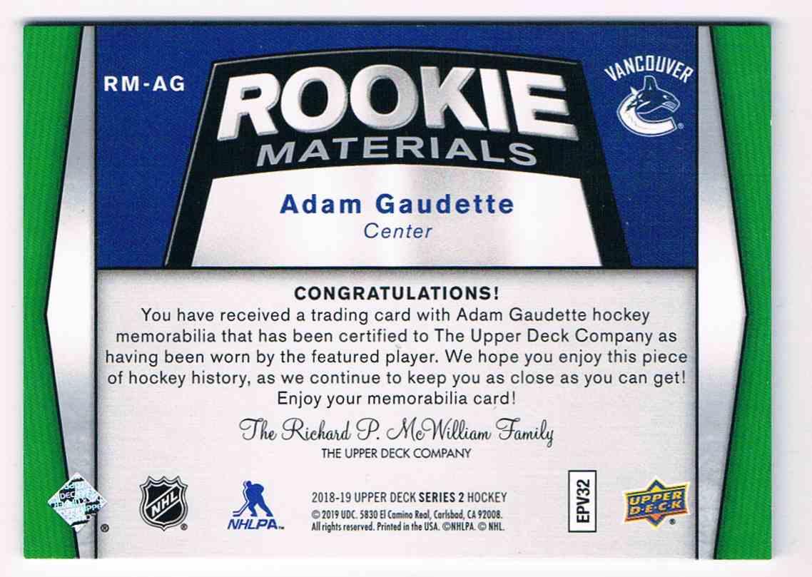 2018-19 Upper Deck Rookie Materials Adam Gaudette #RM-AG card back image