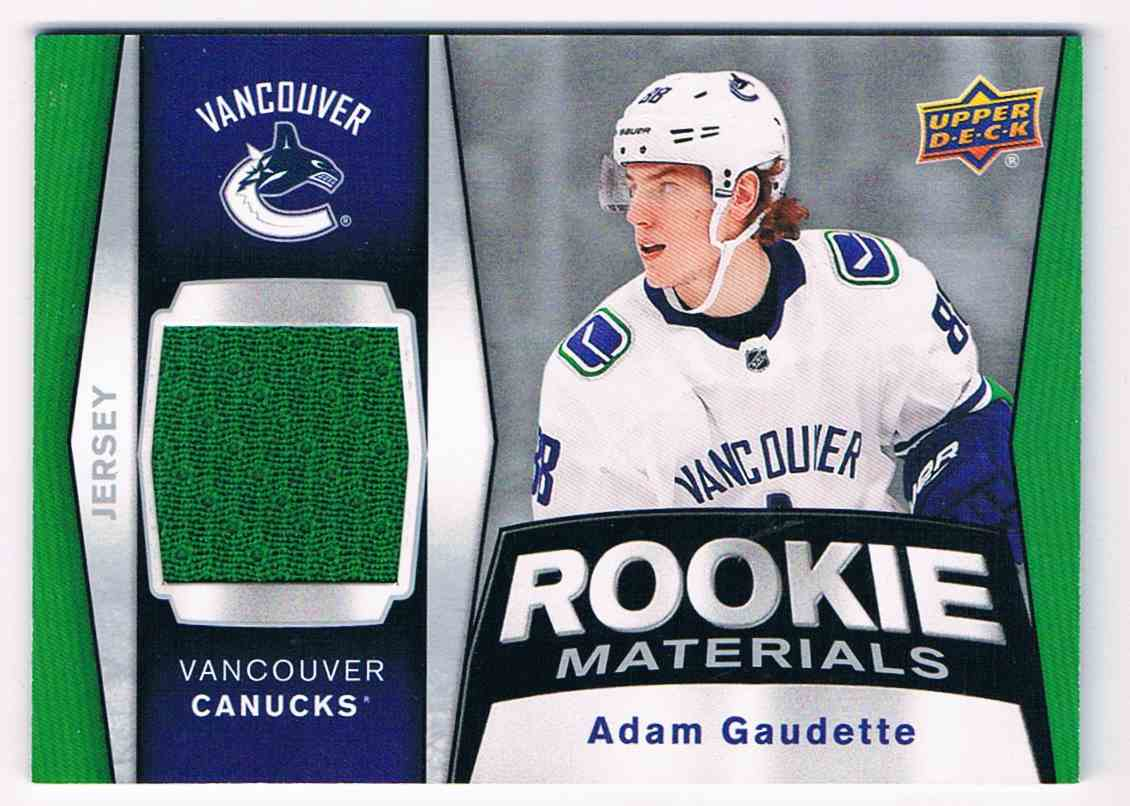 2018-19 Upper Deck Rookie Materials Adam Gaudette #RM-AG card front image