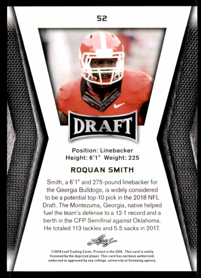 2018 Leaf Draft Roquan Smith #52 card back image