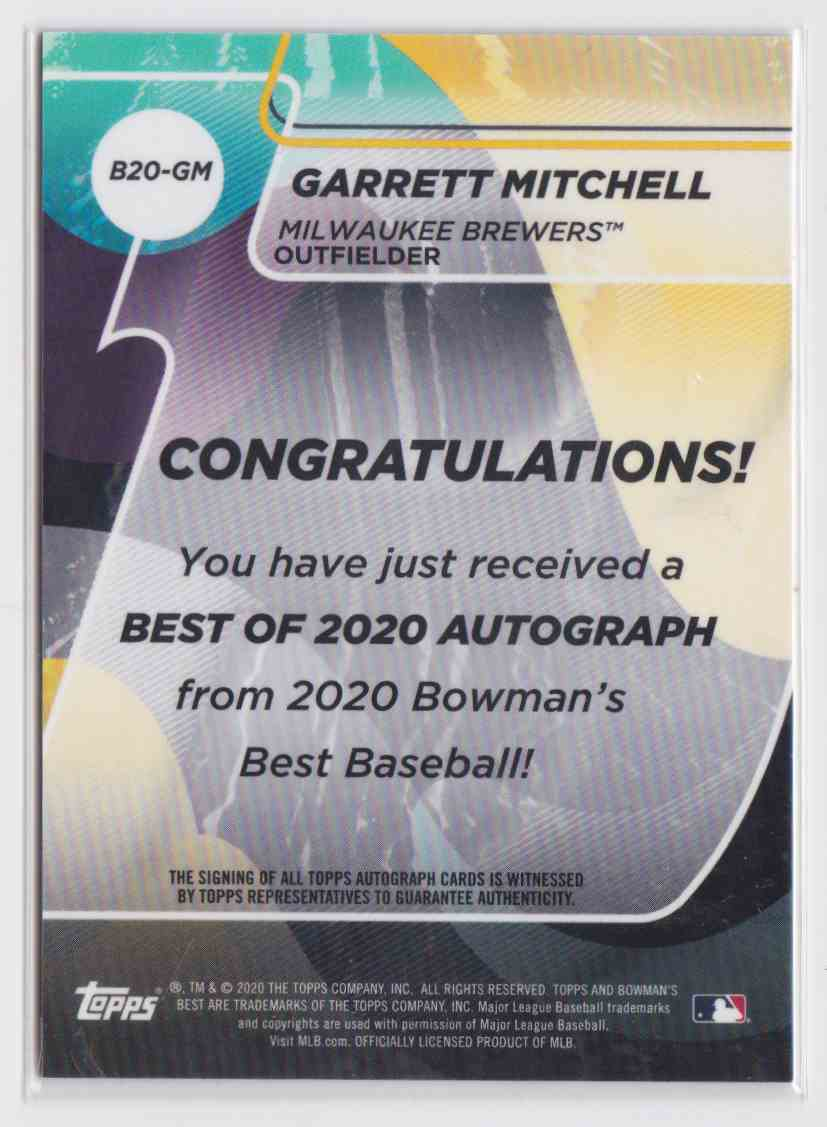 2020 Bowman's Best Garrett Mitchell #B20-GM card back image