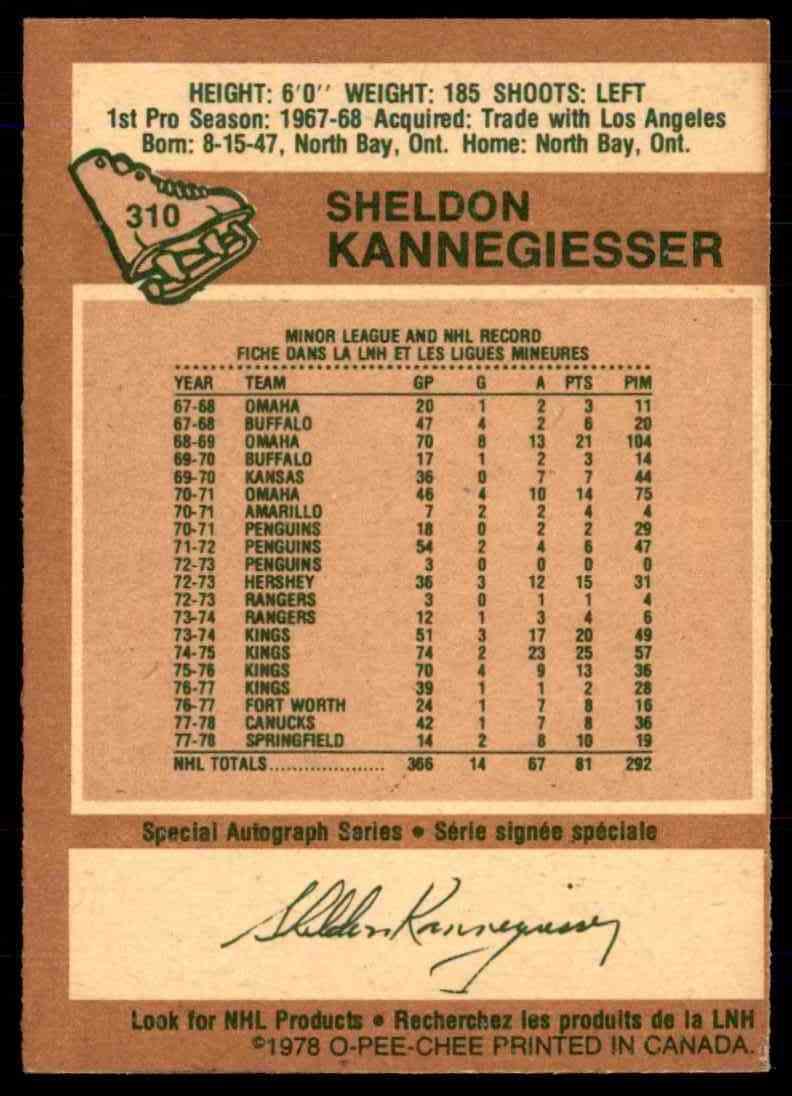 1978-79 O-Pee-Chee Sheldon Kannegiesser #310 card back image