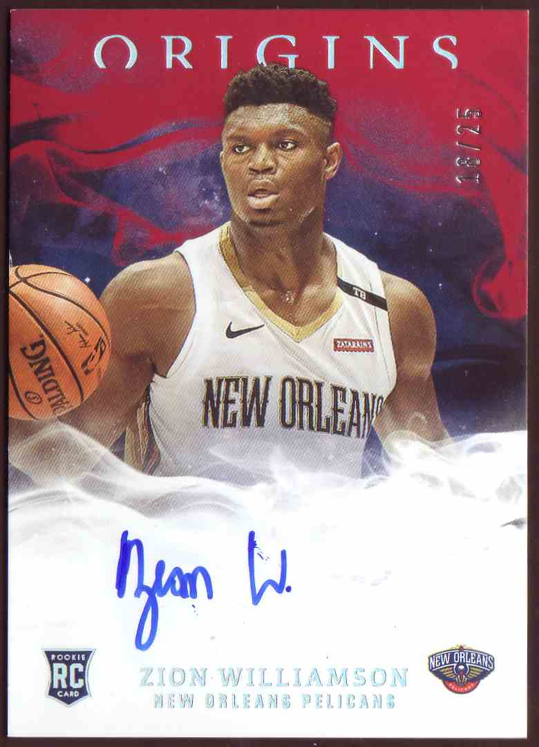 2019-20 Panini Origins Rookie Autographs Red Zion Williamson #109 card front image