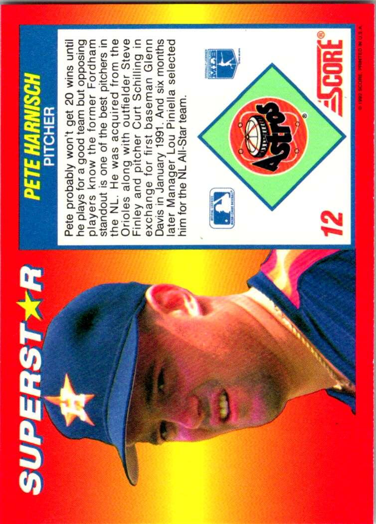 1992 Score 100 Superstars Pete Harnisch #12 card back image