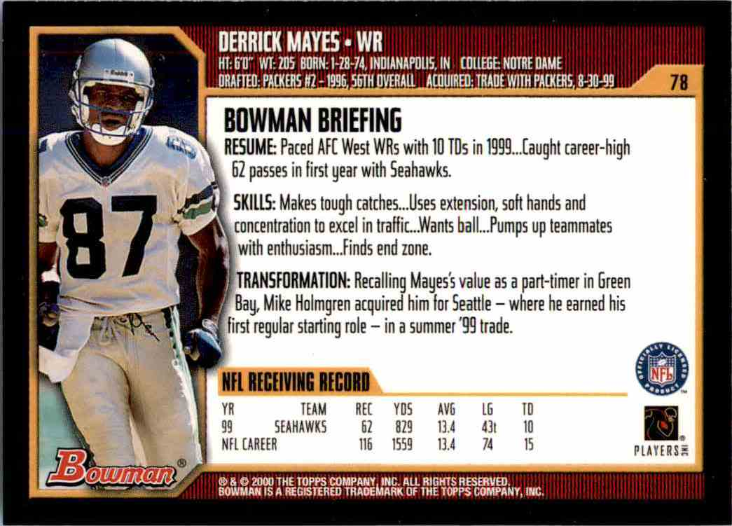 2000 Bowman Derrick Mayes #78 card back image