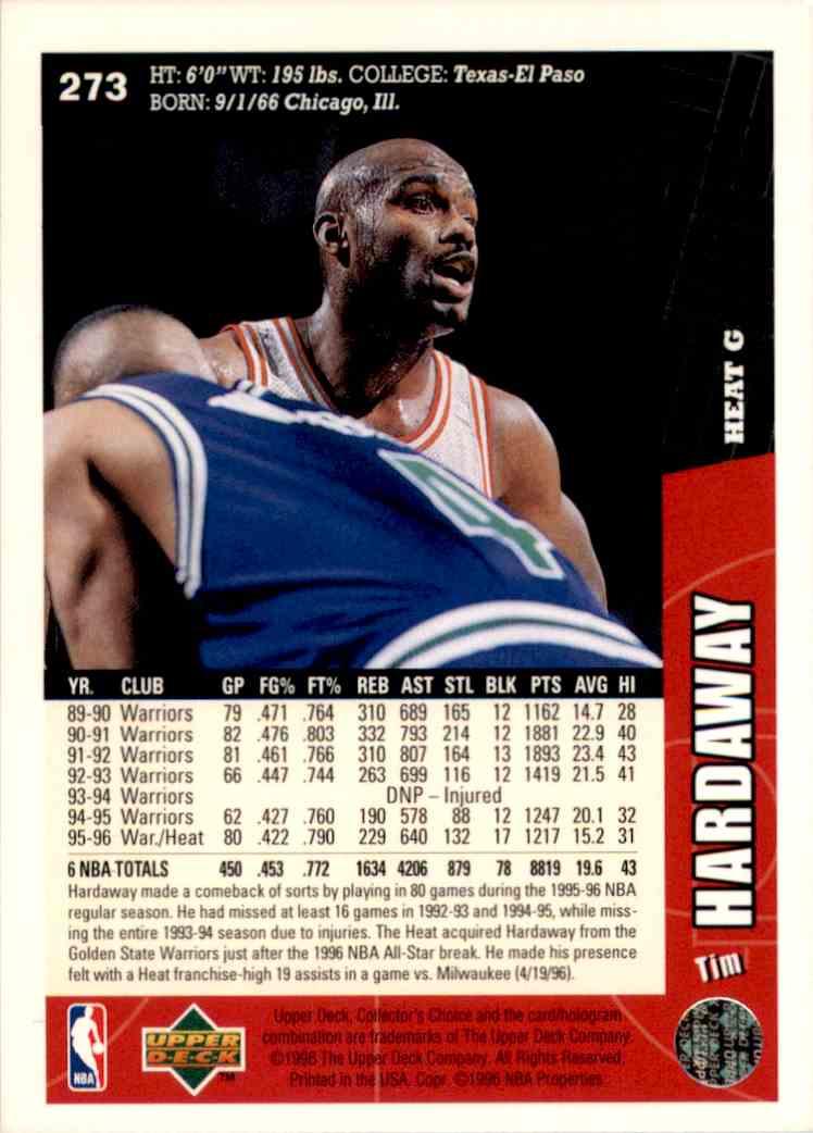 1996-97 Collector's Choice Tim Hardaway #273 card back image