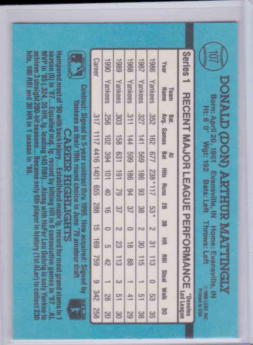 1991 Donruss Don Mattingly #107 on Kronozio
