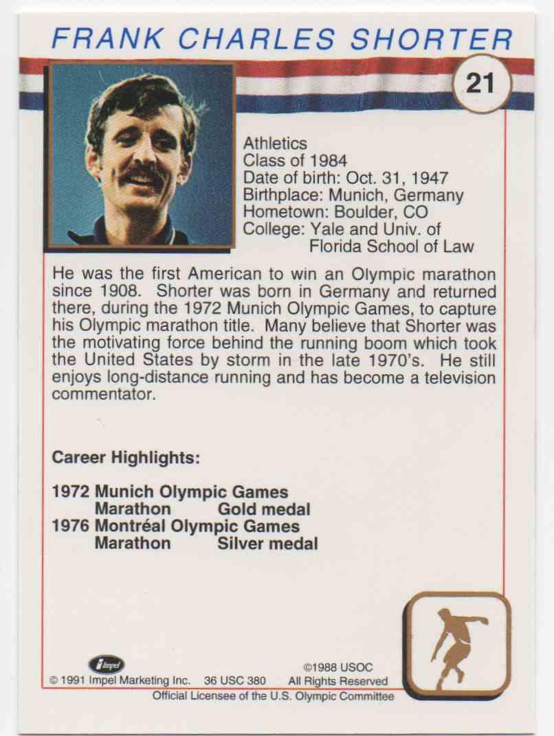 1991 Impel U.S. Olympic Hall Of Fame Frank Shorter #21 card back image