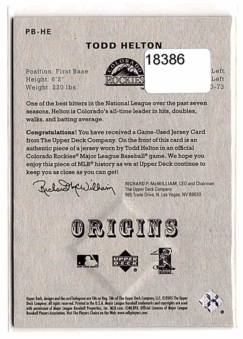 2005 Origins Materials Jersey Todd Helton #PB-HE card back image