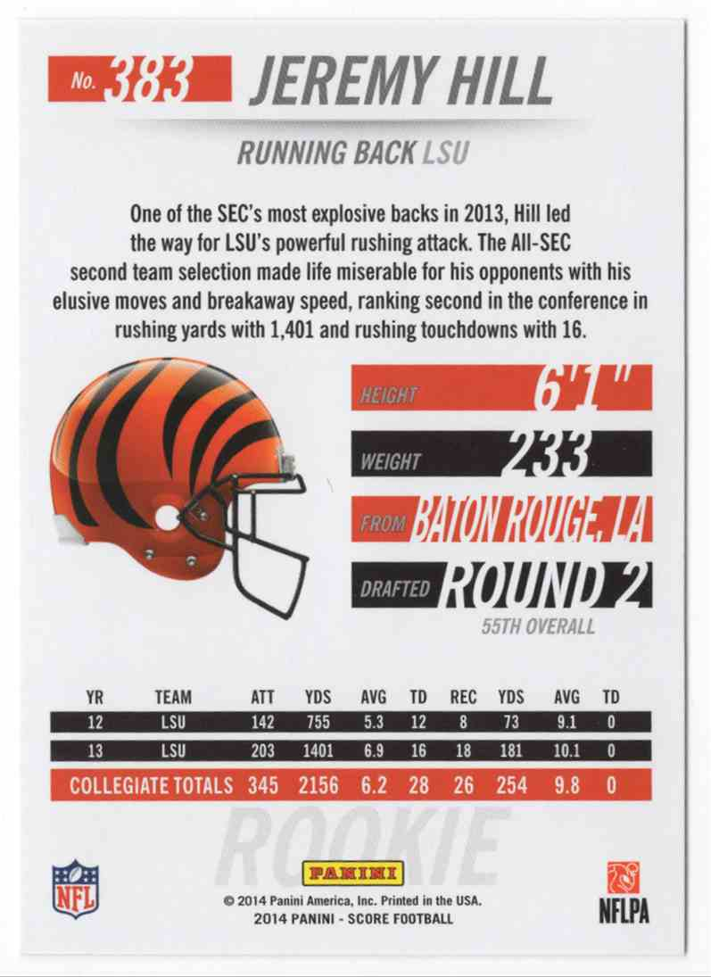 2014 Score Jeremy Hill #383 card back image