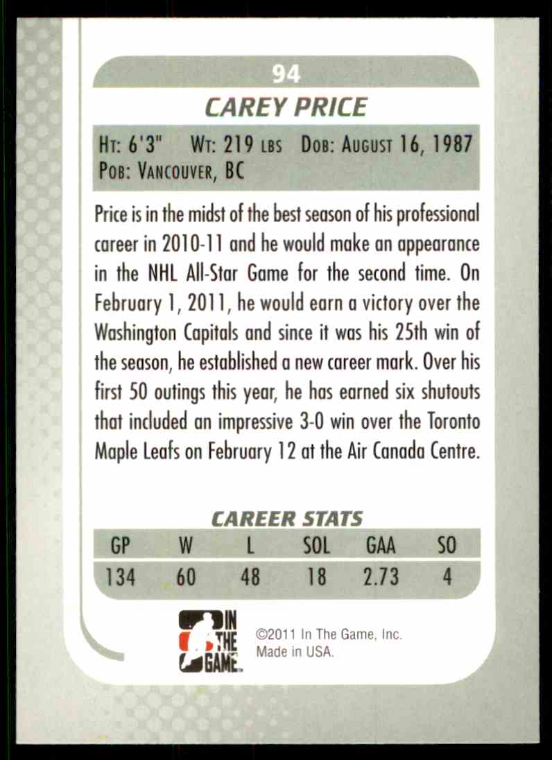 2010-11 In The Game Between The Pipes Carey Price #94 card back image