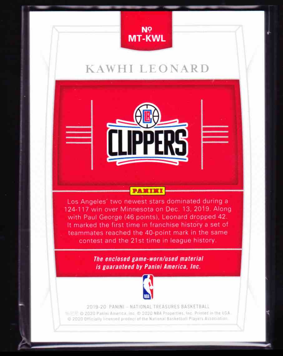 2019-20 Panini National Treasures Kawhi Leonard card back image