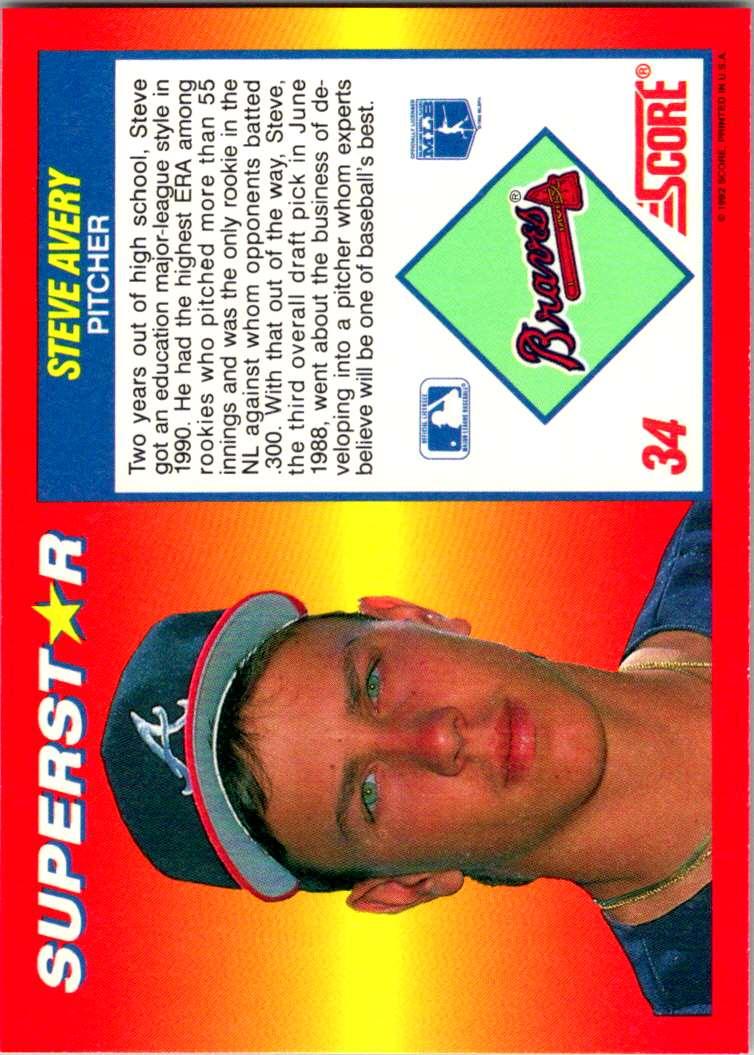 1992 Score 100 Superstars Steve Avery #34 card back image