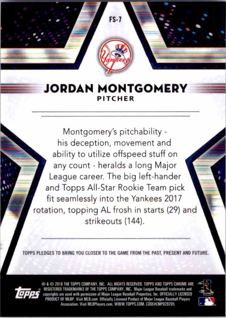 2018 Topps Chrome Future Stars Jordan Montgomery. #FS-7 card back image